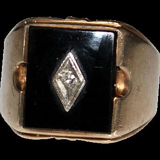 Men's Vintage 10k Yellow Gold Black Onyx & Diamond Ring, Size 7 1/2, 8.4 Grams