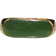 Vintage 14k NEPHRITE JADE Etched Band Ring, Size 7, 3.4 Grams