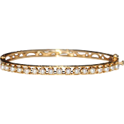 Art Deco Style 14k Yellow Gold Engraved Open Work Filigree Pearl Bangle Bracelet