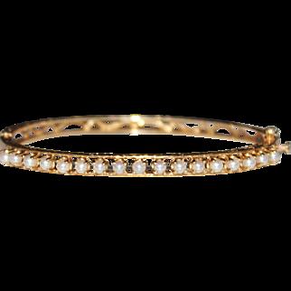 Art Deco Style 14k Yellow Gold Engraved Open Work Filigree Pearl Bangle Bracelet