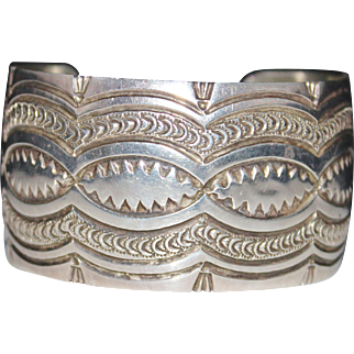 Jenny Blackgoat Navajo Sterling Silver Fancy Stamped Wide Cuff Bracelet, 63.7 Grams