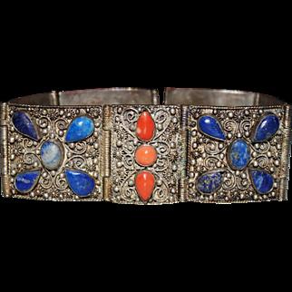 Vintage CHINESE Silver Filigree Blue Lapis & Salmon Coral Panel Bracelet
