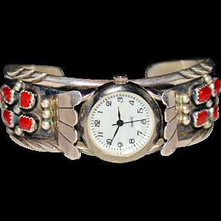 Vintage JERRY COWBOY Sterling Silver Mediterranean Coral Watch Cuff Bracelet
