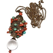 Art Deco Chinese Turquoise Coral Rock Crystal POOLS OF LIGHT Pendant Necklace - Red Tag Sale Item