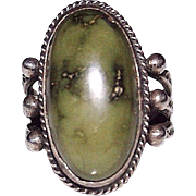 Vintage Fred Harvey Era Sterling Green Turquoise Stamped Ring, Size 6.75