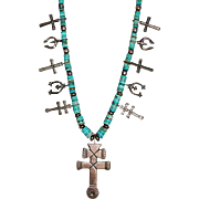 Navajo Indian Turquoise Heishi Sterling Pueblo Cross Dragonfly Naja Necklace