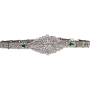 ESEMCO 1929 ART DECO 10k White Gold Filigree Diamond & Emerald Bracelet