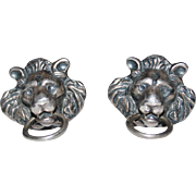 Art Deco Sterling Silver Repousse Lion Cufflinks
