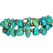 Vintage Navajo Indian Double Strand Turquoise Nugget Sterling Bench Bead Bracelet