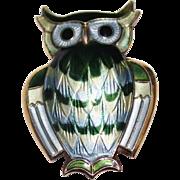 Vintage DAVID ANDERSEN Sterling Guilloche Green & Blue Enamel Owl Brooch, Norway
