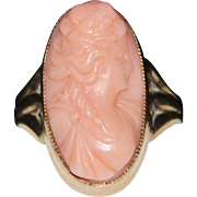 Edwardian 10k Gold Angel Skin Coral Carved High Relief Cameo Ring, Size 7 1/2