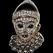 Vintage Signed SWAROVSKI Pave Crystal Clown Mime Brooch