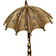 Vintage Estate 14k Yellow Gold Diamond Umbrella Pendant Brooch, .10 CTW, 3.3G