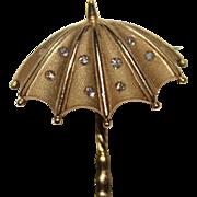 Vintage Estate 14k Yellow Gold Diamond Umbrella Pendant Brooch, .10 CTW, 3.3G