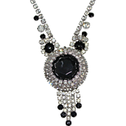 Vintage JULIANA DeLizza & Elster Clear & Black Rhinestone Dangle Necklace