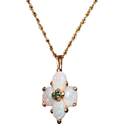 Vintage 14k Yellow Gold Opal & Emerald Pendant Necklace, In Original Zales Box