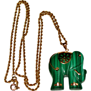 Vintage 14k Yellow Gold Carved Malachite Elephant Pendant Necklace, Rope Chain