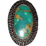 GORGEOUS Vintage Navajo Indian Sterling Turquoise Ring, Large, Mod Style, Size 9