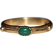 Vintage 14k Yellow Gold Chrysoprase Band Ring, Size 8, 2.6 Grams
