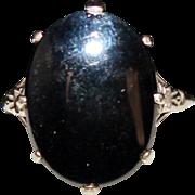 Art Deco 10k White Gold Black Onyx Ring, BDA, Size 5 1/2, 2.3 Grams