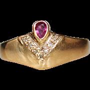 Vintage Estate 14k Yellow Gold Ruby & Diamond Ring, Size 8.25, 3.2 Grams