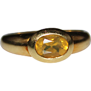 Estate 14k Yellow Gold MEXICAN FIRE OPAL Ring, Size 6, .43 Carats