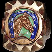 Vintage MEXICAN Biker Ring, Enamel Horse Horseshoe, Eagle Snake, Brass, Mexico Size 12