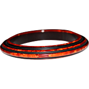 Vintage Rust Orange Swirl Layer Carved Bakelite Bangle Bracelet, Enamel