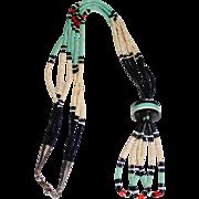 Vintage SANTO DOMINGO Turquoise Coral Jet Heishi Bead Jacla Necklace, Sterling