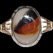 Vintage Sterling Silver Gold Filled Agate Ring, Size 6 1/2