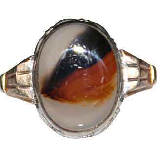 Vintage Sterling Silver Gold Filled Agate Ring, Size 6 1/2