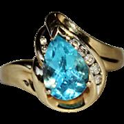 Elegant Estate 10k Yellow Gold Pear Cut Blue Topaz & Diamond Ring, Size 7, 2.63 CTW