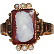 Antique Victorian 10k Rose Gold Seed Pearl Cameo Ring, Sardonyx, Size 9.25