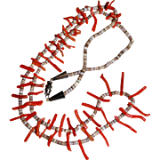 SANTO DOMINGO Vintage Branch Coral Heishi Shell Bead Necklace, 27""