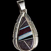 Navajo Indian JOHN CHARLEY Sugilite & Bertrandite Sterling Silver Inlay Pendant