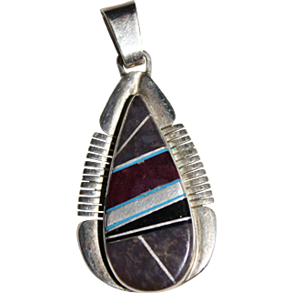 Navajo Indian JOHN CHARLEY Sugilite & Bertrandite Sterling Silver Inlay Pendant