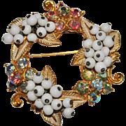 Cute Vintage FLORENZA White Glass Bauble Pastel AB Rhinestone Wreath Brooch