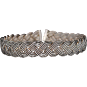 Vintage Sterling Wide Braided Collar Choker Necklace, Southwestern, 111 Grams