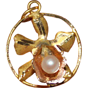 Vintage 18k Yellow Gold Dainty Pearl & Orchid Pendant, 1.3 Grams