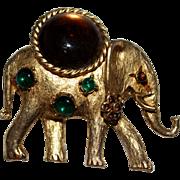 Rare Vintage HOBE Glass Cabochon Elephant Figural Brooch, Rhinestones