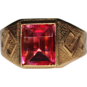 Vintage 10k Gold Unique Cut Faceted Synthetic Ruby Ring, Fancy Design, Size 10