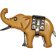 Vintage 1930's Carved Bakelite Elephant Chrome Figural Brooch Pin, Machine Age