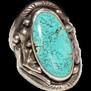 Huge Vintage Navajo Indian TURQUOISE Handmade Ring, Signed JC, Size 14