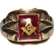 Vintage 10k Gold Freemason Mason Synthetic Ruby Ring, Size 11.25, 6.9 Grams, Masonic