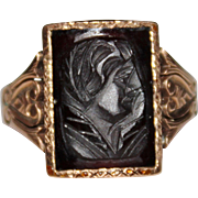 Victorian 10k Rose Gold Carved Carnelian Cameo Intaglio Ring, Size 9.5