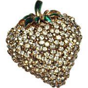 Vintage CINER Pave Set Clear Rhinestone & Enamel Strawberry Brooch, Figural