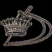 Vintage 1940's Sterling ROHNER Sword & Crown, Dagger Brooch Pin, Hard to Find