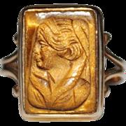 Antique 10k Rose Gold Carved Tiger's Eye Cameo Intaglio Ring, Size 6.75, 4.2G