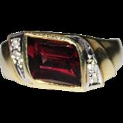 Estate 14k Yellow Gold RHODOLITE GARNET & Diamond Ring, Unique Cut Gem, Size 6.5