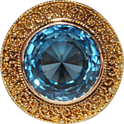 Exquisite Vintage Estate 18k Yellow Gold Filigree Blue Topaz Cocktail Ring, SZ 9